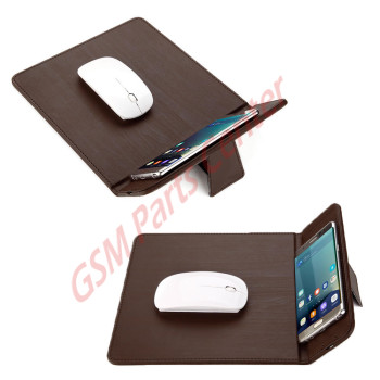 Qi Wireless Charger Mouse Pad Mat - Brown Leather
