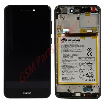 Huawei P8 Lite 2017 (PRA-LX1) LCD Display + Touchscreen + Frame Incl. Battery Black 02351CTJ, 02351DYM, 02351VBT