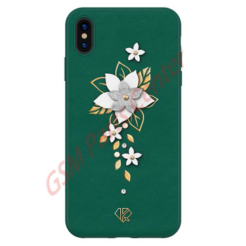 Kingxbar Apple iPhone X/XS - 3D Crystals PU Leather Case - Flower Green