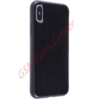 Fshang Apple iPhone X Leather Backside Case Jazz - Black