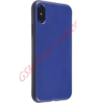 Fshang Apple iPhone X Leather Backside Case Jazz - Blue