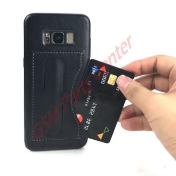 Kanjian Samsung G950F Galaxy S8 Business Card Slot Backcover Leather - Black