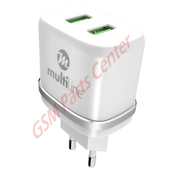 Multiline Power Dual Adapter - 2.4A incl. Lightning USB Cable