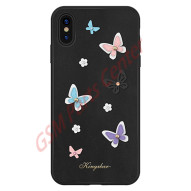 Kingxbar Apple iPhone XR - 3D Crystals PU Leather Case - Butterfly Black