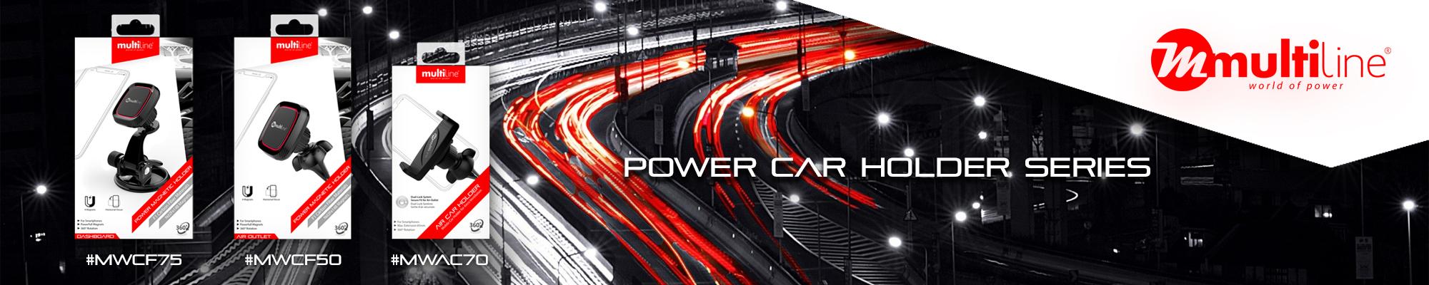 New Multiline Car Accessoires available via GSM Parts Center. Power car Holder Series.
