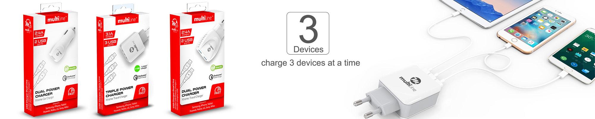 Multiline Power Chargers 3 in 1 beschikbaar voor iOS en Android