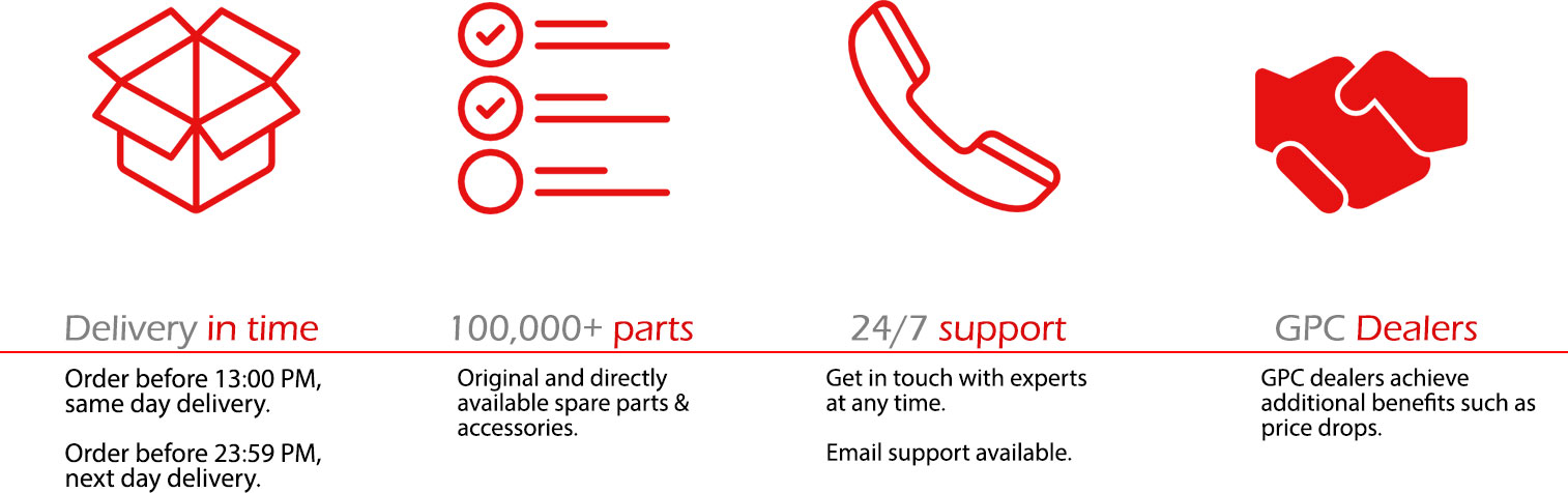 GPC provides its clients with: fast delivery, stock of more than 100.000 original parts and accessories, 24/7 support via email and phone and special prices