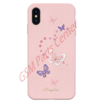 Kingxbar Apple iPhone XS Max - 3D Crystals PU Leather Case - Butterfly Pink