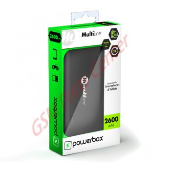 Multiline Powerbox Line - Powerbank 2600 mAh - Zwart
