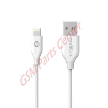 Multiline PowerLine Lightning USB Cable - 1,2M - White
