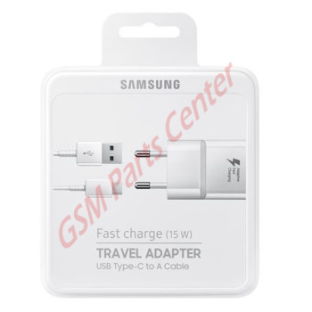 Samsung Fast Charge Travel Adapter (15W) + Type-C To USB Cable - EP-TA20EWECGWW - White