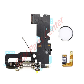Apple iPhone 7 Charge Connector Flex Cable With Home Button Return Solution White