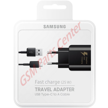 Samsung Fast Charge (25W) Travel Adapter + Type-C To Type-A USB Cable EP-TA300CBEGWW - Black