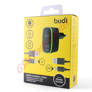 Budi 2 USB Home Charger With Lightning Cable + Micro USB Cable - 1.2m