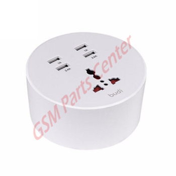 Budi 4 USB Home Charger With 1 General Socket