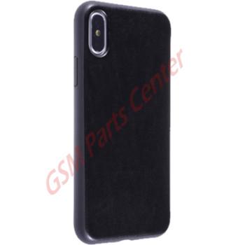 Fshang Apple iPhone X Leather Backside Case Jazz - Black