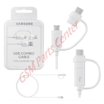 Samsung USB Combo Cable Type-C & Micro 1.5m USB EP-DG930DWEGWW - White
