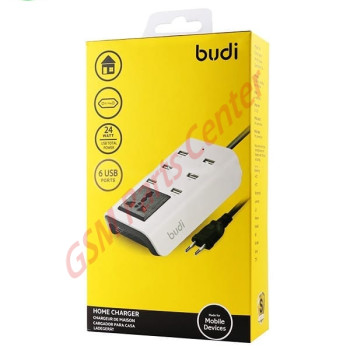 Budi 6 USB Home Charger With 1 General Socket