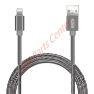 XO Spring Durable Braided Lightning to Charge & Sync USB Cable - 100CM NB27 - Silver