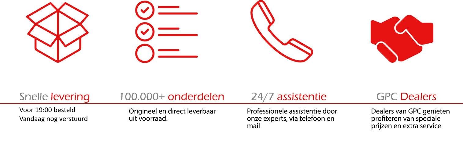 GPC biedt: Snelle levering, meer dan 100.000 onderdelen op voorraad, 24/7 assistentie, en speciale prijzen voor dealers
